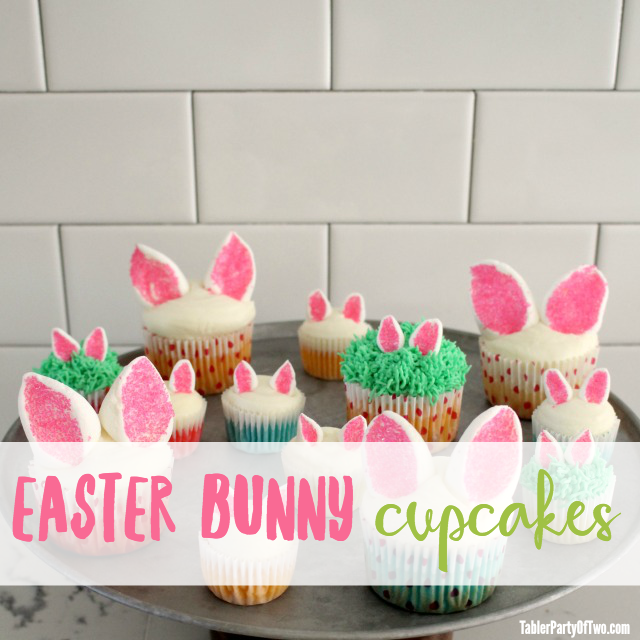 Easter Bunny Cupcakes with Marshmallow Ears | Tabler Party of Two | www.tablerpartyoftwo.com